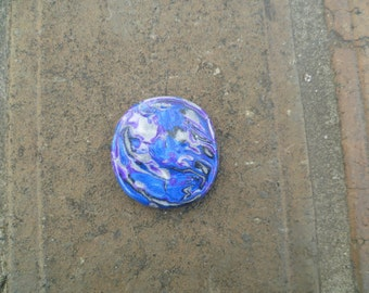Purple-Blue rainbow polymer clay cabochon-FLAT TOPPED-MARBLE