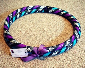 Zebra Print Hula Hoop - Custom Collapsible Travel Hoop - Any Color 100 PSI or 125 PSI PE - Beginner Intermediate - Exercise Fitness Dance