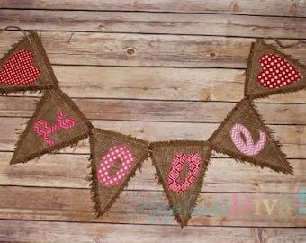 Valentine's Day Love Pennant Banner Digital Embroidery Design Machine Applique