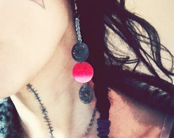 Belly Dance Isis Coin Earrings, chain red discs sequins, Party dangle earrings, dainty, fun, playful