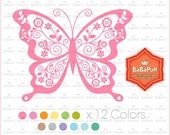 12 Butterfly Clip Art, For Invitations Cards Making, Shower Invites, DIY Project, Personal and Small Commercial Use.BP 0912