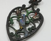 Sale Black Cast Iron Trivet Dutch Pennsylvania Partridge Hearts