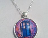 "Dr. Who Tardis glass dome pendant necklace with 18""  sterling silver chain"