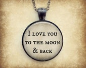I Love You to the Moon Necklace : I Love You Jewelry. Moon Quote. Charms. Love Quote. Gunmetal Jewelry. Handmade Jewelry. Lizabettas