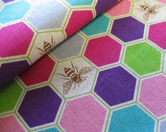 Echino Decoro - Bees Pink and Purple - Lightweight Canvas from Kokka Fabrics