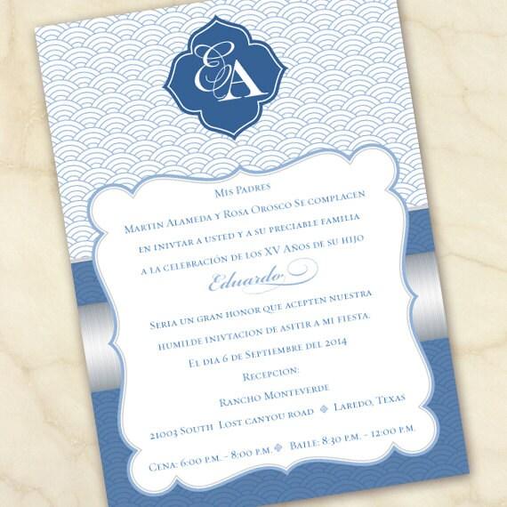 wedding invitations, Spanish wedding invitations, blue and silver wedding invitations, silver Spanish wedding invitations, IN327