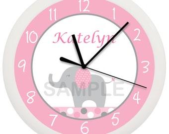 Elephant Personalized Nursery Wall Clock