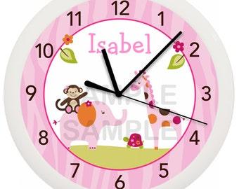 Sweet Safari Girl Jungle Animal Personalized Nursery Wall Clock