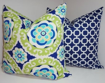 OUTDOOR Pillow Cover Set Blue Yellow Green Medallion & Blue Geometric Deck Patio Pillow Covers 20x20  18x18