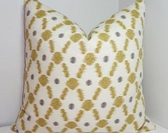 Tan Grey Ikat Print Pillow Cover Decorative Throw Pillow Diamond Design 18x18