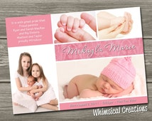 Baby Girl Birth Announcement (Digital File) Mikayla - I Design, You Print