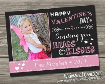 Chalkboard Photo Valentines Card, Valentine's Day Card - (Digital File) - I Design, You Print
