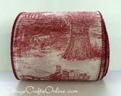 "Wired Ribbon, 4"" wide, Burgundy Toile Semi Sheer Print, TEN YARD ROLL, Reliant, Harvest Scenes Craft Decor Wire Edged Ribbon, Toile Ribbon"