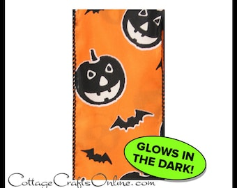 "Halloween Wired Ribbon, 2 1/2"" wide, Black Pumpkins Bats on Orange GLOW In The Dark - THREE YARDS -  Offray ""Pumpkin Glo""  Wire Edged Ribbon"