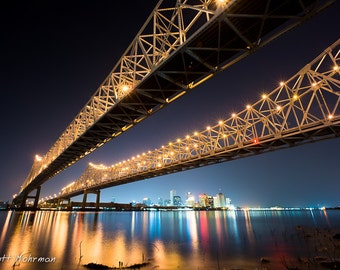 Bridge Architecture, New Orleans Photography, Crescent City Connection, Mississipppi River, City SkylinePhotograph