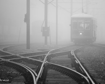 New Orleans Streetcar, Foggy, French Quarter, Louisiana, Black and White Photography, Panoramic