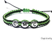 Boy Bracelet, Kid Bracelet, Name Bracelet, Child Bracelet, Personalized Jewelry, Boys Gift, Baby Boy Bracelet, Macrame Cord, Green, Black