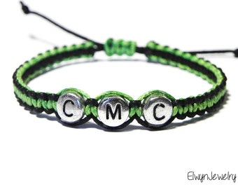 Boy Bracelet, Kid Bracelet, Name Bracelet, Child Bracelet, Personalized Jewelry, Boys Gift, Baby Boy Bracelet, Macrame Cord, Green, Black
