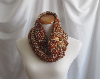 Cowl Neckwarmer Button Chunky BulkyCrochet Neck Warmer Cowl:  Rust, Brick Red & Frosty Green with Natural Wood Buttons