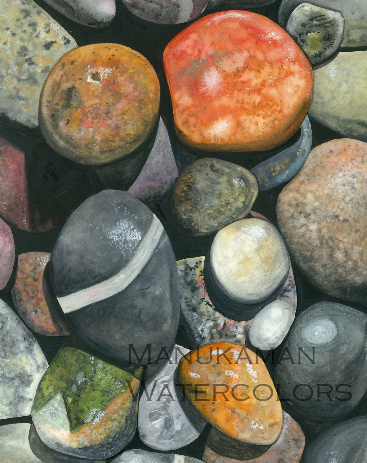 Cape Cod Sandy Neck Beach Stones Watercolor Study By Damon