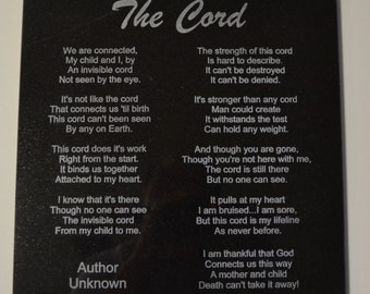 """The Cord Poem by Author Unknown Engrave on 12"""" by 12"""" Black Granite Tile"""