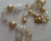 Necklace chunky white, clear, frosted, swirled, glass beads and beige faux pearls