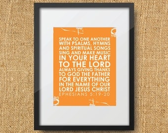Thanksgiving Scripture Printable Digital Art Print ANY COLOR Instant Download bible verse - Ephesians 5:19-20