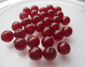 8mm Preciosa Garnet Czech Glass Beads 50Pcs.