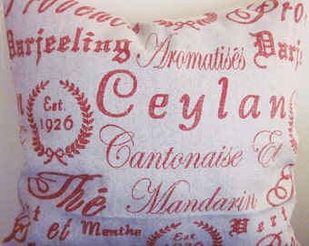 French Script Pillow Covers, Tea House Ruby, Handmade Linen Accent Pillow, Decorative Pillow
