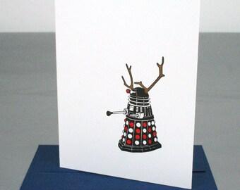 Sale - 40% off - Doctor Who Dalek Reindeer Christmas Holiday Letterpress Card