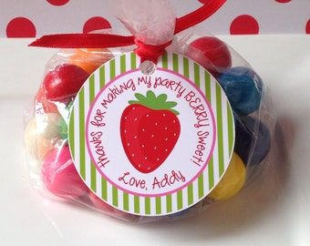 12 Strawberry Birthday Party Favor Tags