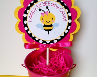 Bumble Bee Birthday Party Smash Cake Topper