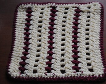 Burgandy and Cream Dish Cloth