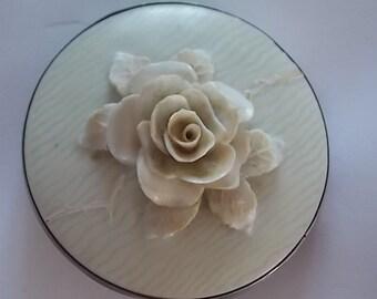 Vintage Silver Carved Flower Brooch Pin  NUMBERED