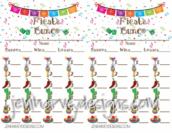 Fiesta Bunco Score Card And Table Score Sheet