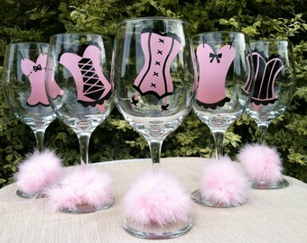 10 Personalized Corset Bachelorette Party Wine Glasses