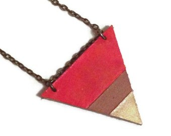 Orange and Tan leather color blocked triangle necklace, geometric necklace, leather triangle necklace