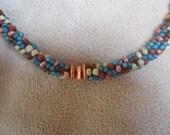 Copper Canyon III beaded kumihimo necklace