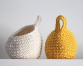 Set of 2 Crochet Balloon Baskets in Ivory and Yellow.