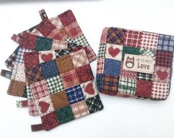 Quilted Coasters Set of 5 with Case/ Holder