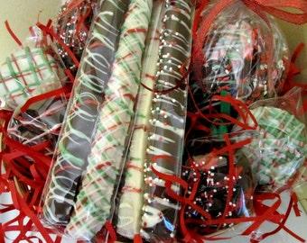 GIFT BASKET - Chocolate & Caramel Covered Apples, Pretzels  Sticks and Oreo Pops