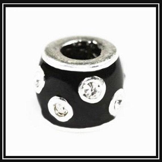 Beautiful Black Enamel With Rhiinestones Excellent