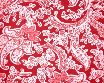 Sale! Red and Coral Paisley Flannel Twill, 1 yd
