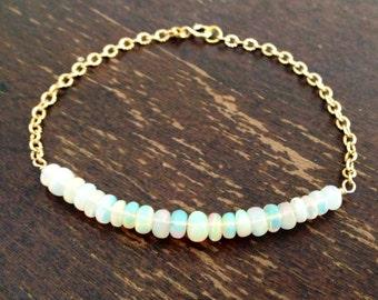 Opal Bracelet - Opal Jewelry - October Birthstone - Gold Chain Jewellery - Ethiopian Opal Jewelry - Iridescent