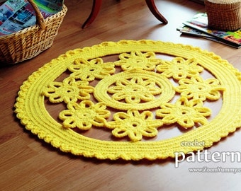 Crochet Pattern - Crochet Flower Rug (Pattern No. 060) - INSTANT DIGITAL DOWNLOAD