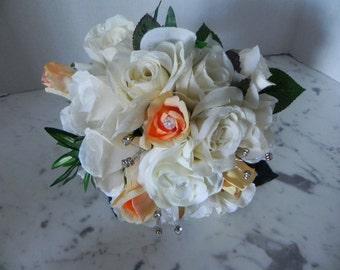 "Silk Bridal Bouquet, Romantic Wedding Keepsake,  Peaches and Cream, Boutonniere, Rhinestones, ""Bountiful Bouquets""   BB#105"