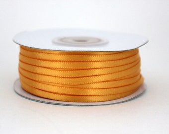 """Satin Ribbon - Whole Spool - 100 yds 1/8"""" in Light Gold"""