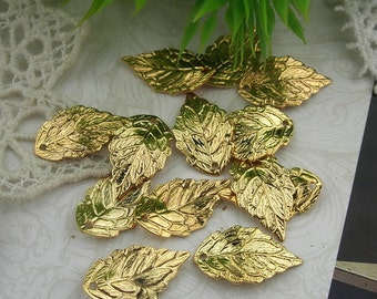 15 Pcs  Gold Plated Leaves Charm,Nickel Free10x18mm