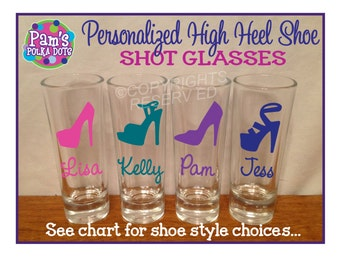 Personalized SHOT GLASSES with High Heel SHOE Bachelorette Bridal Party Initial Name Word Bridesmaid Bride 21st Birthday Sorority College