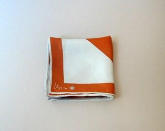 Mid Century Vera Neumann Silk Scarf - Bold Copper / Ice Blue Stripes